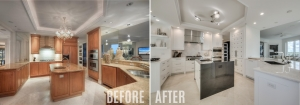 Before and after kitchen renovation by Diamond Custom Homes